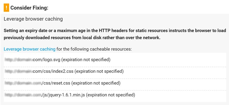 leverage browser caching pagespeed insights assets